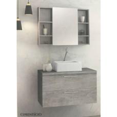 Astral Conjunto Gabinete e Espelho Santorini Cimenticio 80cm Susp c/ cuba